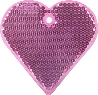 Reflector heart 57x57mm pink